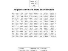 Religions Albemarle Word Search Puzzle Worksheet