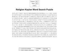 Religion Kaylan Word Search Worksheet