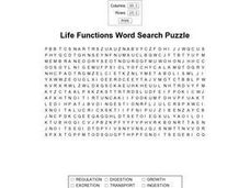 Life Functions Word Search Worksheet