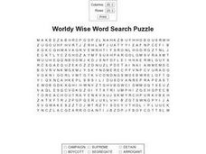 Worldly Wise Word Search Worksheet