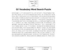Q1 Vocabulary Word Search Worksheet