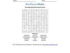 Groundhog Day Word Search Puzzle Worksheet