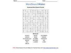 Kwanzaa Word Search Puzzle Worksheet