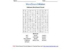 Halloween Word Search Puzzle Worksheet