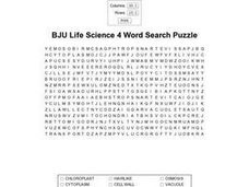 BJU Life Science 4 Word Search Puzzle Worksheet