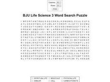 BJU Life Science 3 Word Search Worksheet