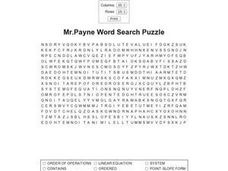 Mr. Payne Word Search Puzzle Worksheet