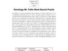 Sociology Mr. Fallis Word Search Puzzle Worksheet