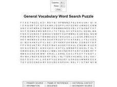 General Vocabulary Word Search Puzzle Worksheet