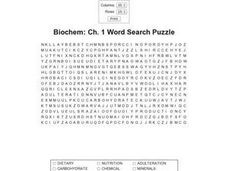 Biochem: Ch. 1 Word Search Puzzle Worksheet