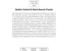 Sadlier Oxford D Word Search Worksheet