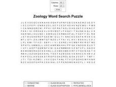 Zoology Word Search Puzzle Worksheet