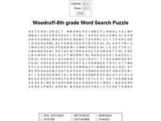 Woodruff--8th Grade Word Search Puzzle Worksheet