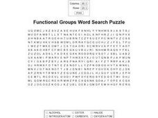 Functional Groups Word Search Puzzle Worksheet