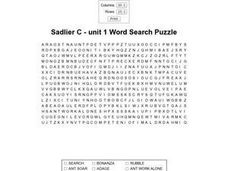 Sadlier C-- Unit 1 Word Search Puzzle Worksheet