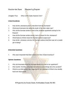 Number the Stars Chapter 5 Worksheet