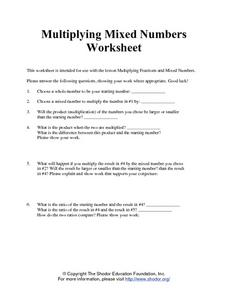 Multiplying Mixed Numbers Worksheet Worksheet