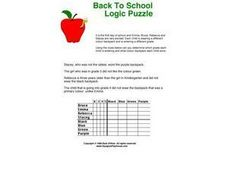 Back to School Logic Puzzle Worksheet
