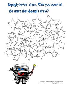 Count all the Stars that Squigly Drew Worksheet