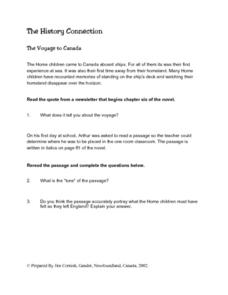 The Voyage to Canada Lesson Plan