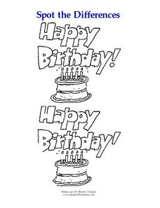 Spot the Differences-- Happy Birthday! Worksheet for