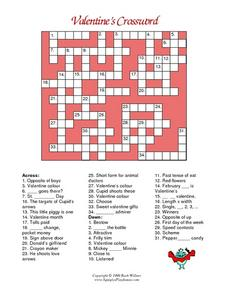 Valentine's Crossword Worksheet