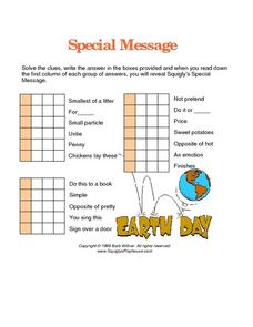 Earth Day Special Message Word Puzzle Worksheet