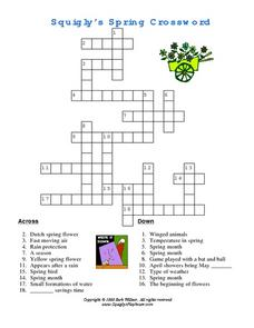 Squigly's Spring Crossword Worksheet