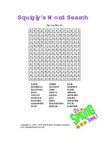 Squigly's Word Search-- Spring Words Worksheet