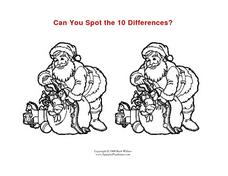 Can You Spot the Differences?  Santa Scene Worksheet