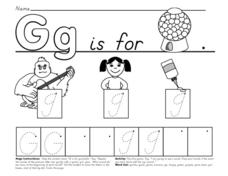 Printing Practice--   Gg is For Gumball Worksheet