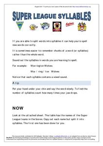 Super League Syllables Worksheet