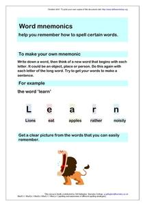Word Mnemonics- Spelling Clues Worksheet