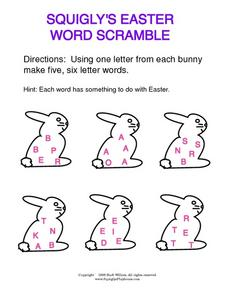 Squigly's Easter Word Scramble Worksheet