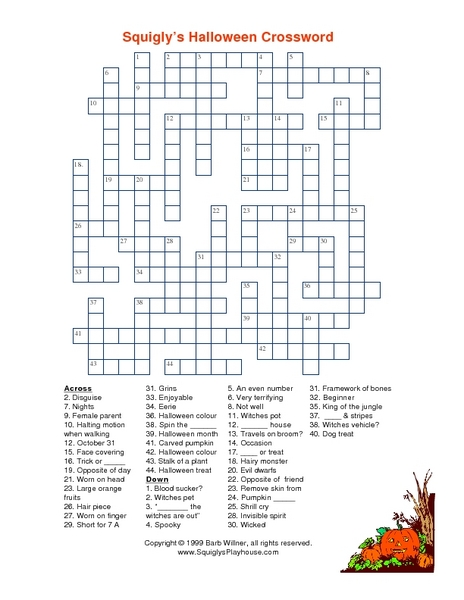 graphic about Halloween Crossword Puzzles Printable identify Squiglys Halloween Crossword Worksheet for 4th Quality