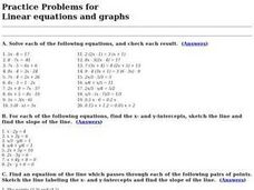 Practice Problems for Linear Equations and Graphs Worksheet