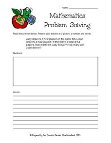 Problem Solving: Delivering Newspapers Worksheet
