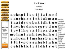 Civil War Worksheet