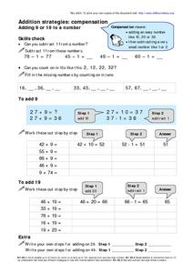Addition Strategies: Compensation Worksheet