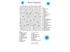 Winter Crossword Puzzle Worksheet