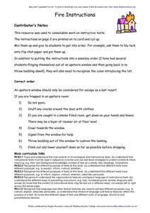Fire Instructions Worksheet