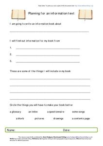 Planning for an Information Text Worksheet