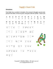 Squigly's Secret Code-- Good Luck Charms Worksheet