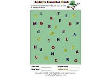 Squiggly's Scrambled Words Worksheet