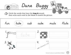 Dune Buggy-- Long U Sound Worksheet