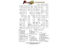 Autumn Crossword Worksheet