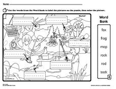 Label Nouns in the Picture- Camping Animals Worksheet