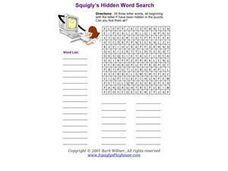 Squiggly's Hidden Word Search Worksheet