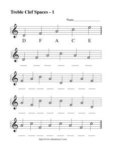 Treble Clef Lines and Spaces -1 Worksheet
