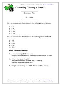 Converting Currency - Level 2 Worksheet